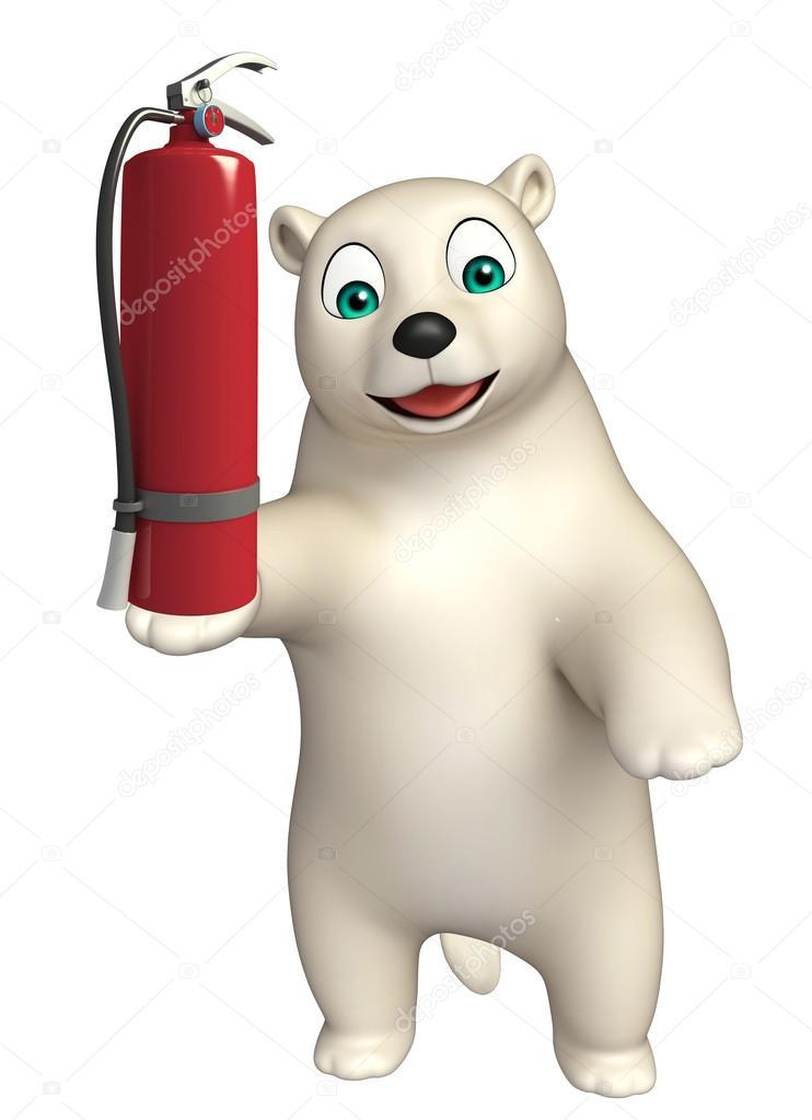 Simpatico orso polare del fumetto con l estintore u foto stock