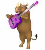 Spaß Rhino Cartoon-Charakter mit Gitarre
