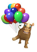 Fotografie Rhino cartoon character with baloon