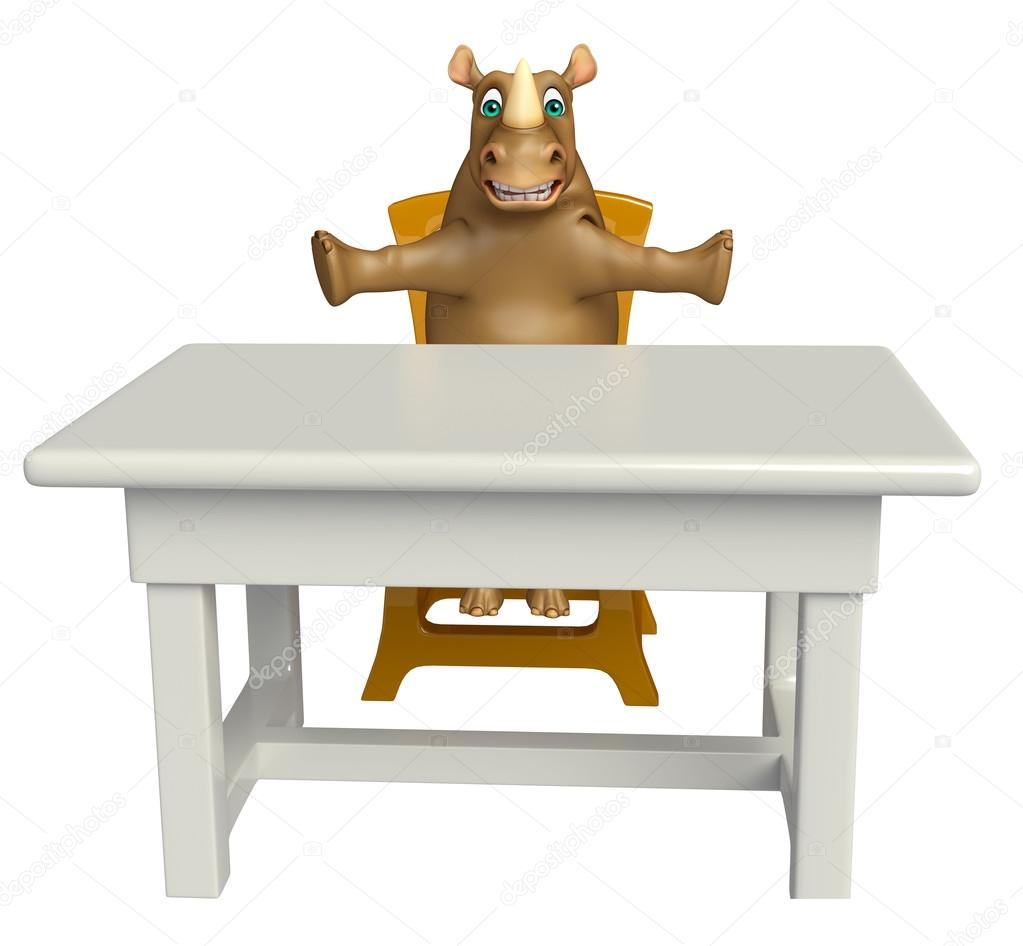 Dessin Chaise Personnage Table Mignon Et Animé Rhino Avec gmYyIf6vb7