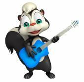 Spaß Skunk Cartoon-Charakter mit Gitarre