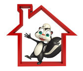Fotografie fun Skunk cartoon character with home sign