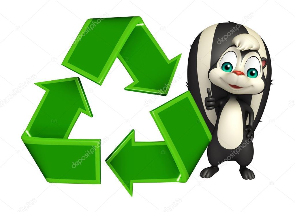 Personaje De Dibujos Animados De Skunk Con Reciclaje