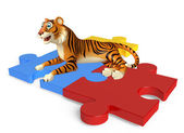 Fotografie cuteTiger cartoon character with puzzle