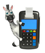 Photo cute Zebra cartoon character with swap machine
