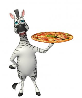 cute Zebra cartoon character with pizza