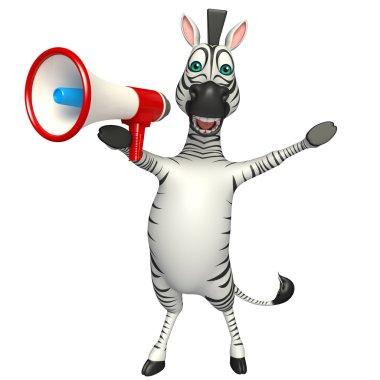 cute Zebra cartoon character  with loud speaker