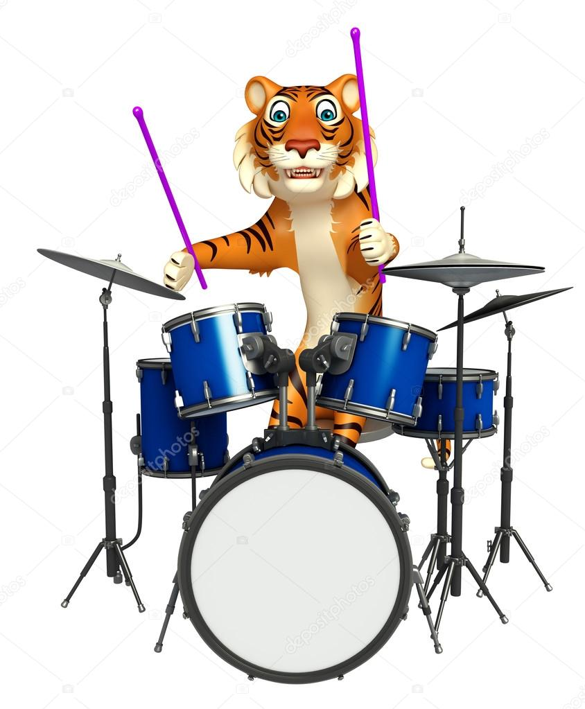 Niedlichen Tiger Cartoon Charakter Mit Trommel Stockfoto
