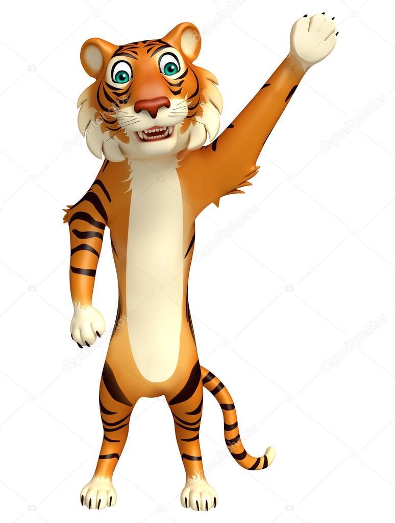Personaggio dei cartoni animati di puntamento tiger u foto stock