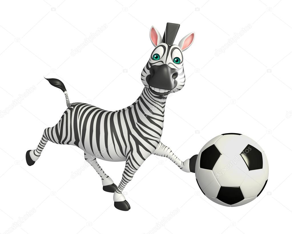 Zebra sveglia del fumetto con il calcio u foto stock