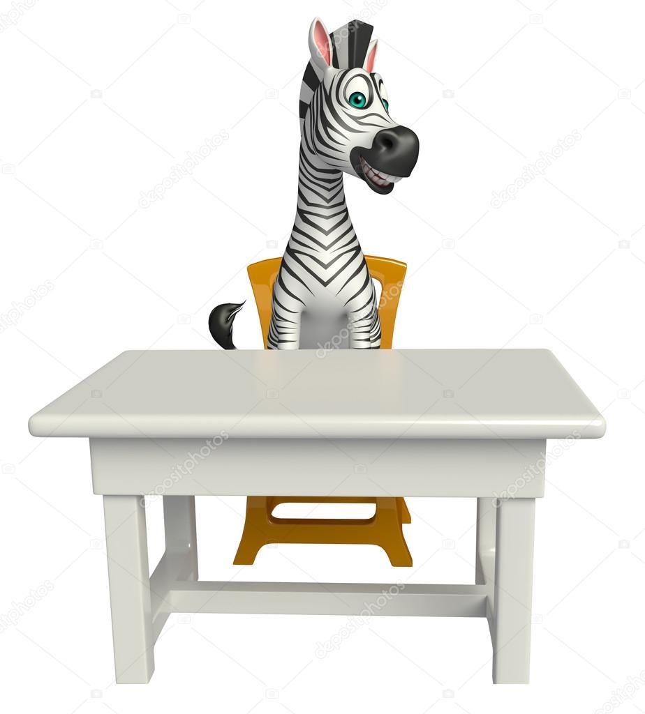 Divertente personaggio dei cartoni animati di zebra con tavolo e