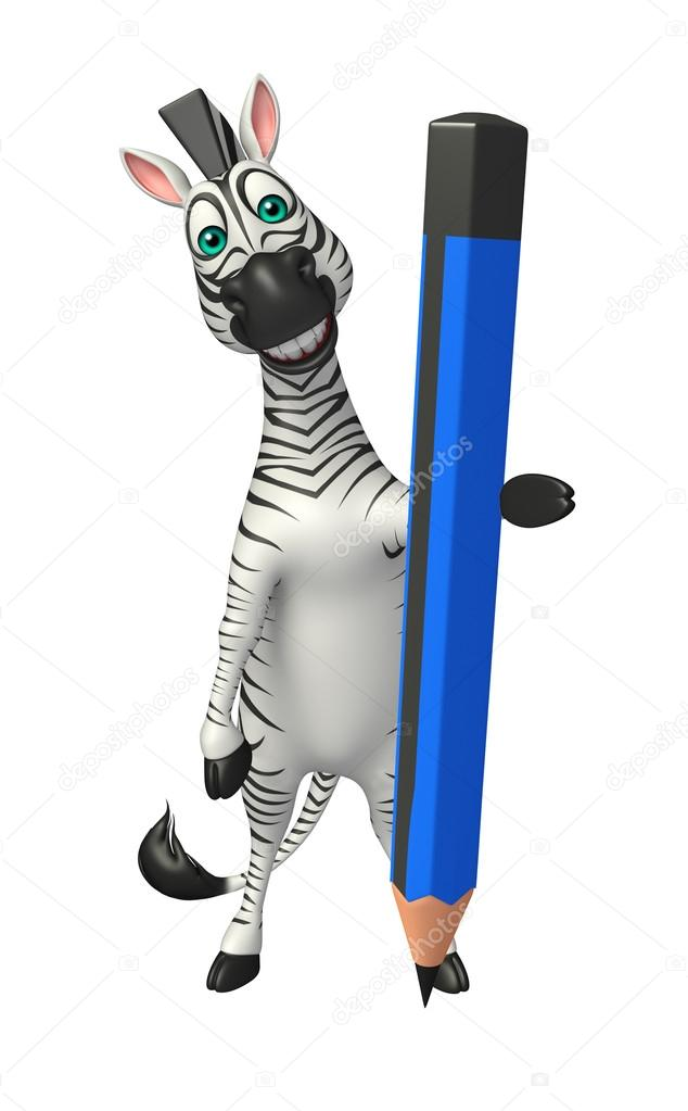 Divertente personaggio dei cartoni animati di zebra con la matita