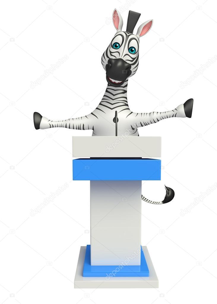 Divertente personaggio dei cartoni animati di zebra con fase di