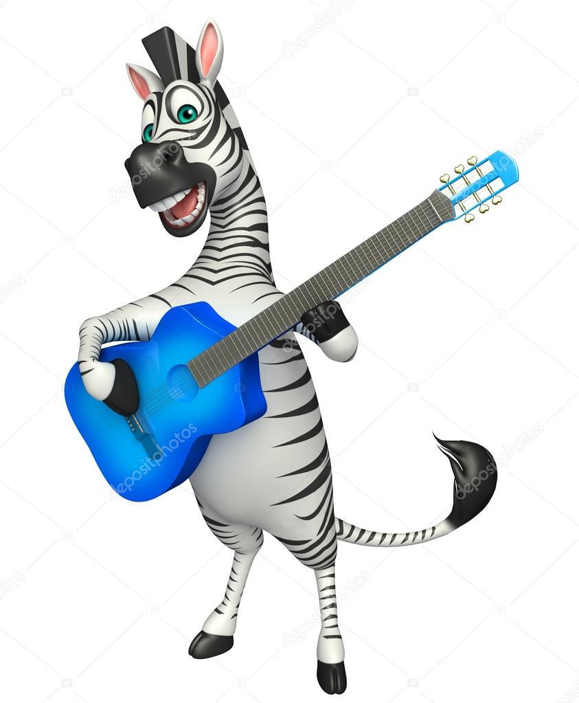 Divertente personaggio dei cartoni animati di zebra con la