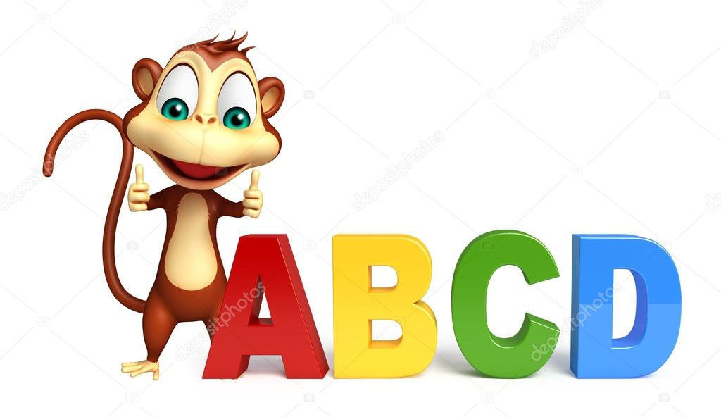 Personaggio dei cartoni animati di scimmia con il segno di abcd