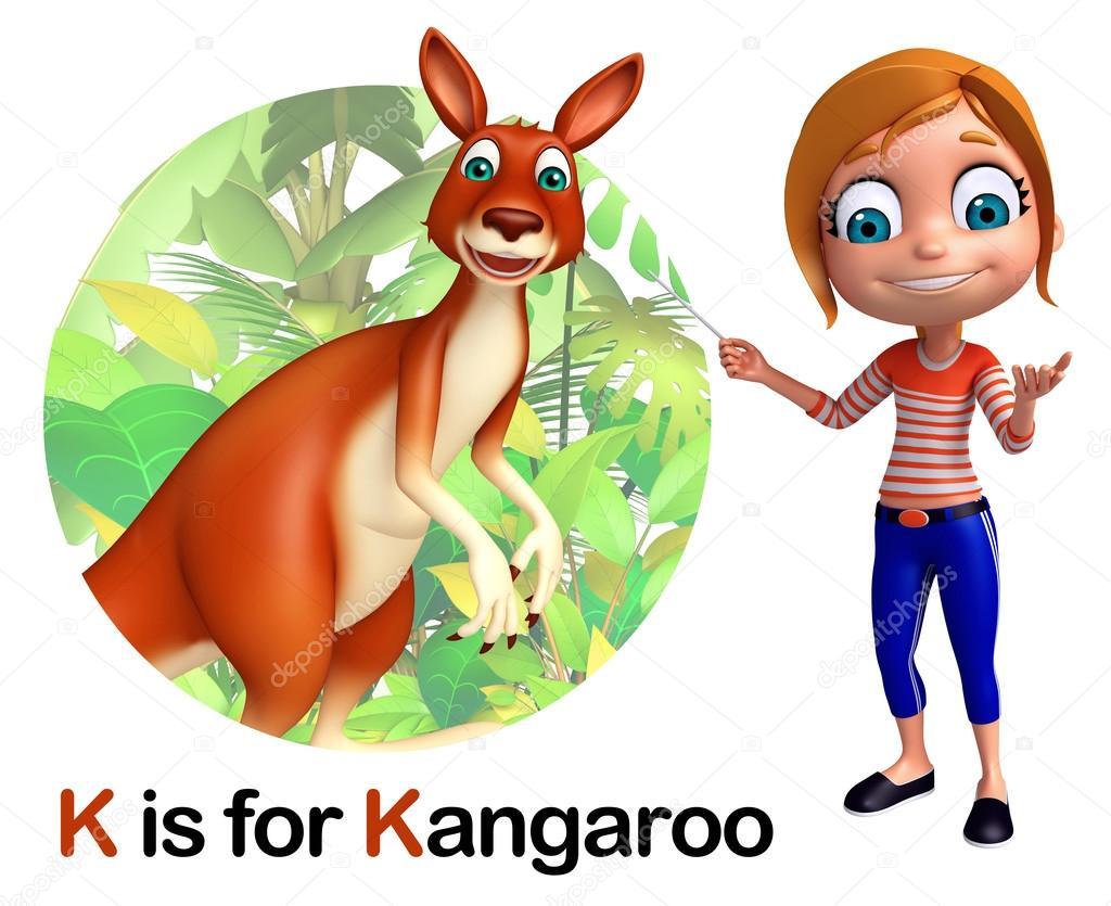 d91510b0d Niña señalando el canguro de niños - foto: canguro niños — Foto de  visible3dscience
