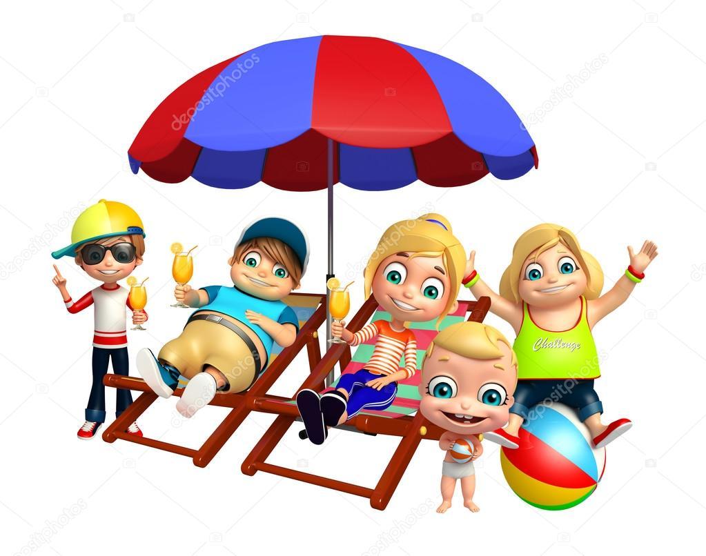 Strandkorb clipart  Kind Mädchen, Kid Boy und niedlichen Baby mit Entspannung im ...