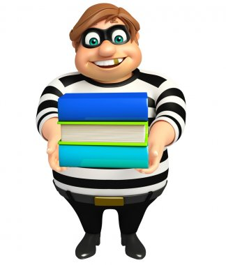 Thief with Book stack