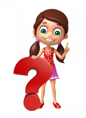 kid girl with Question mark sign