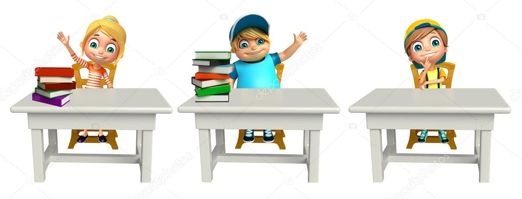 Kid Garçon Fille Et Enfant Avec Table Chaise Et Livres