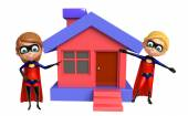 Superboy and Supergirl with Home