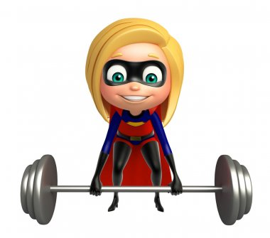 supergirl with Gym equipment