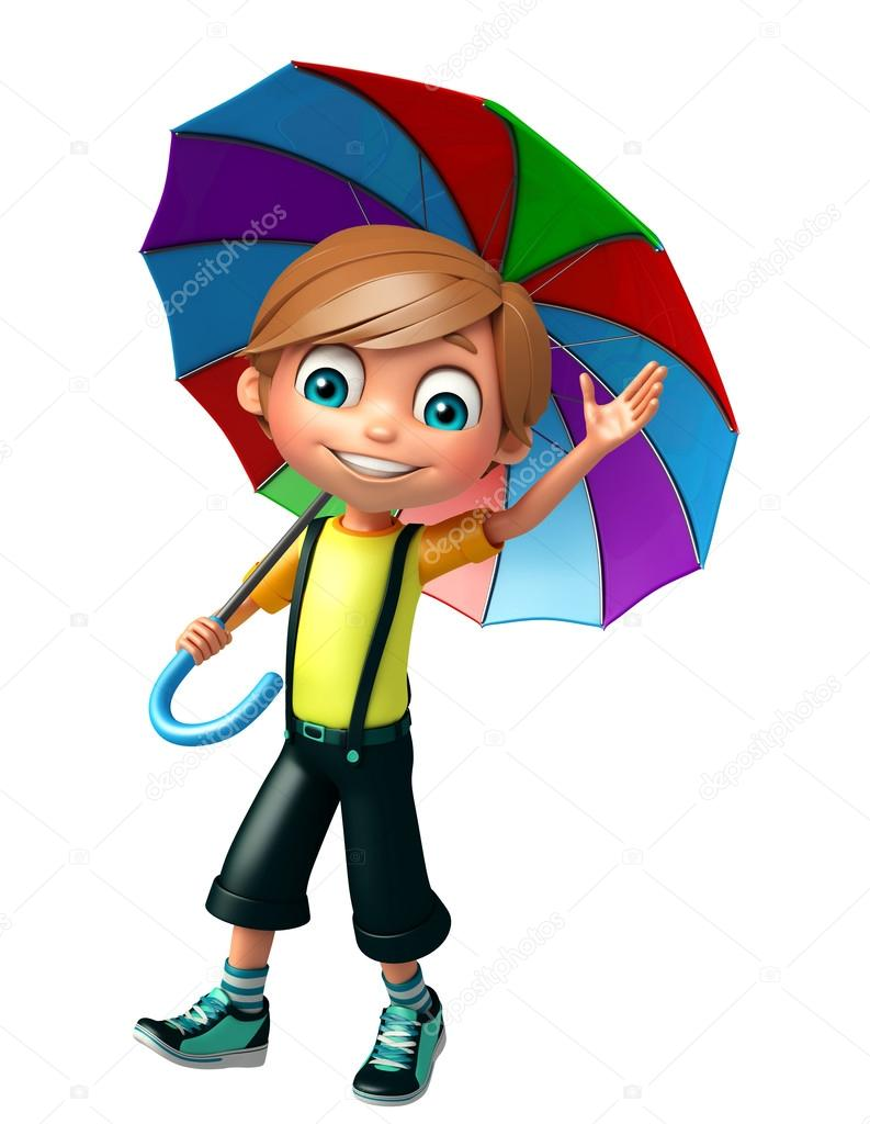 kid boy with umbrella stock photo visible3dscience 123768396