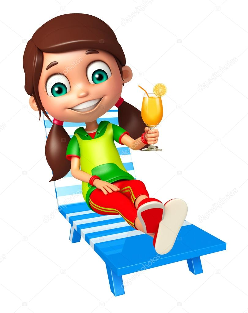 Magnificent Kid Girl With Beach Chair Juice Glass Stock Photo Gmtry Best Dining Table And Chair Ideas Images Gmtryco