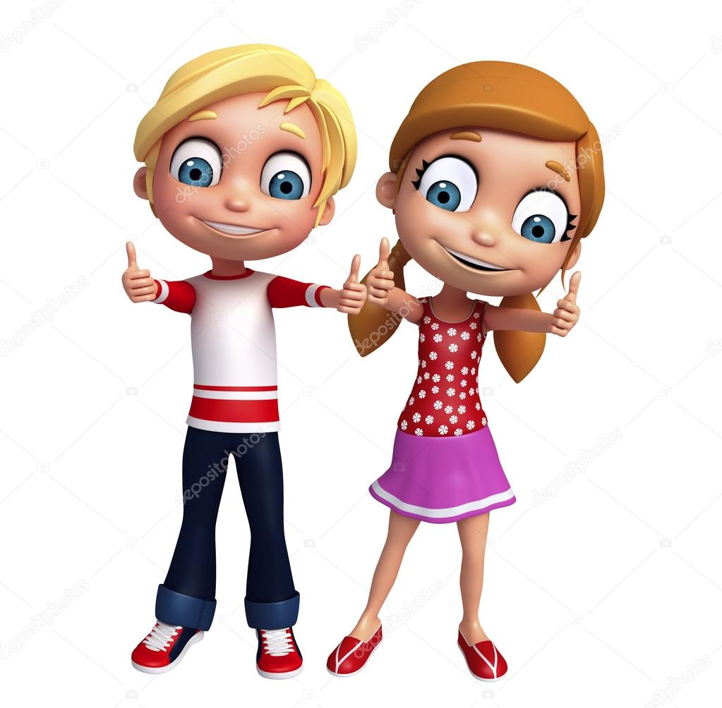 kid girl and kid boy with thums up pose stock photo