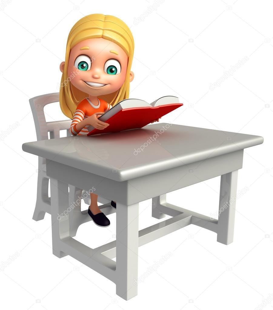 Kind Mädchen Mit Tisch Stuhl Buch Stockfoto Visible3dscience