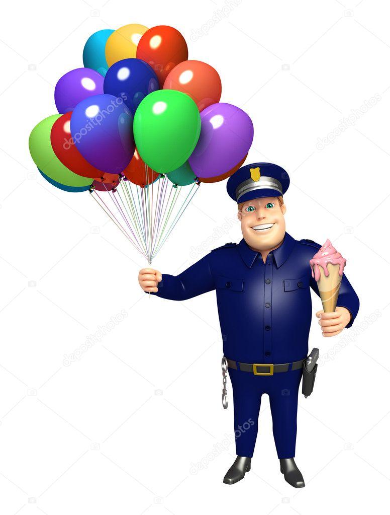 Polizia con palloncini gelato foto stock - Immagine con palloncini ...