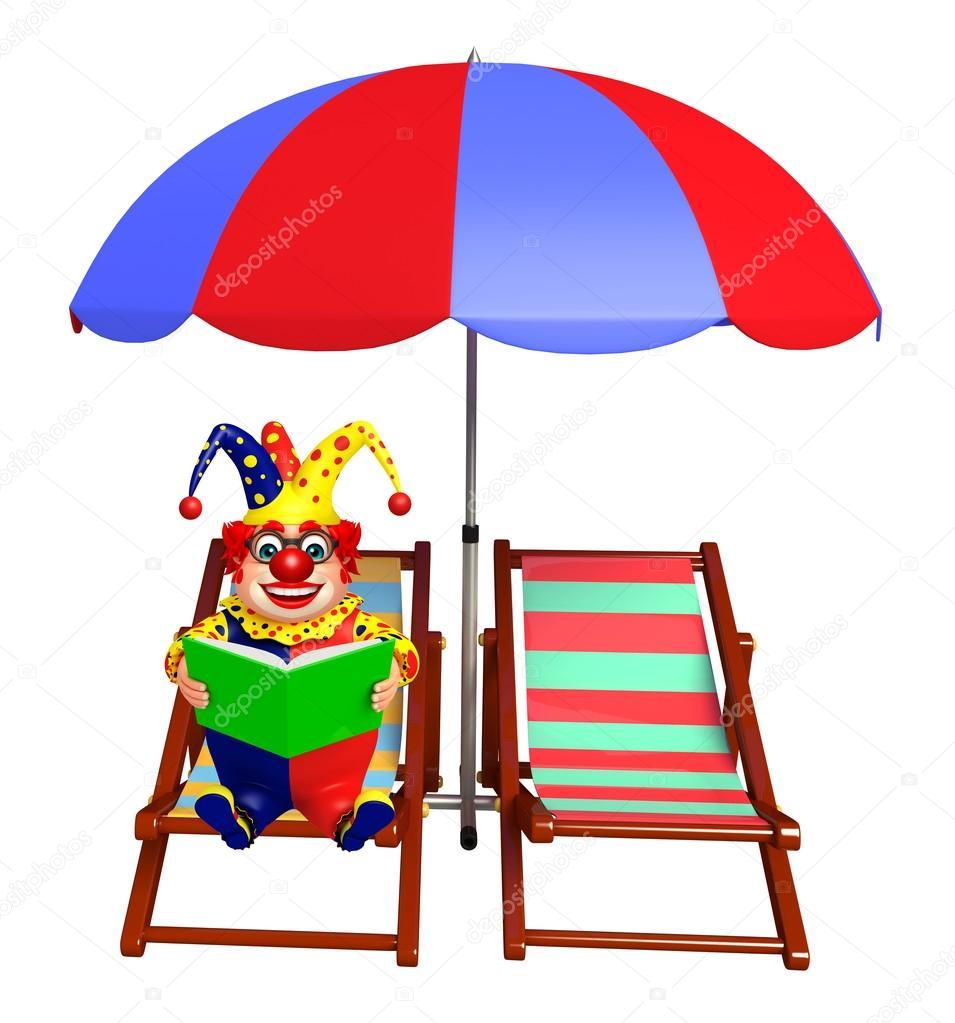 Strandkorb clipart  Clown mit Buch & Strandkorb — Stockfoto © visible3dscience #123813908