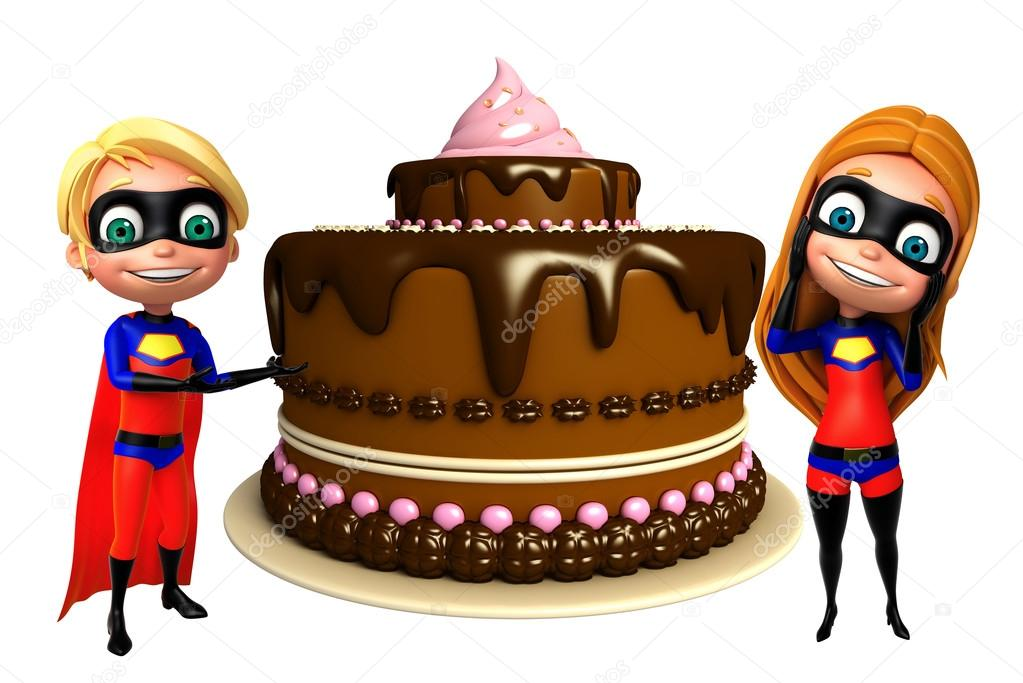 Superboy And Supergirl With Cake Stock Photo
