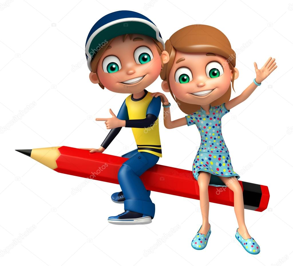Kid boy with and girl Pencil — Stock Photo © visible3dscience ...
