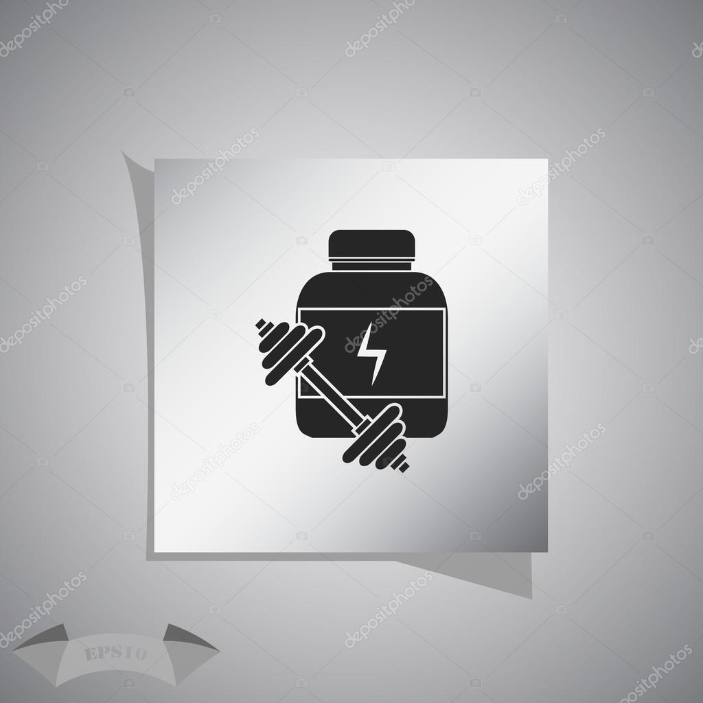 2ca87377b Nutrição esportiva e halteres. ícone do esporte — Vetores de Stock ...