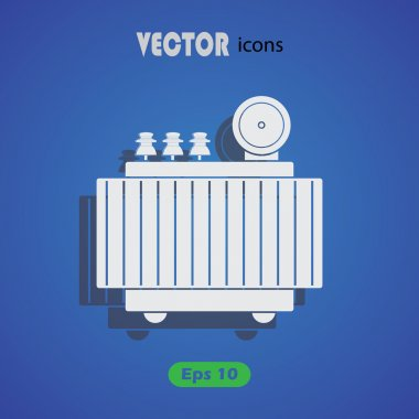 High voltage transformer vector icon.