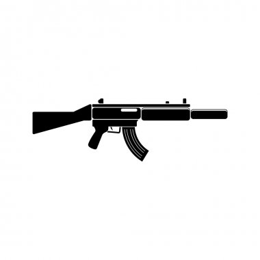 MP-5 Weapon black simple icon. Vector. Flat style for web and mobile.