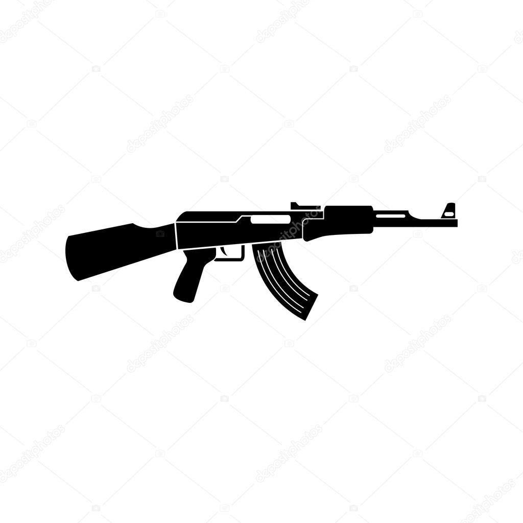 ak47 schwarz einfaches symbol kalaschnikow maschinengewehr silhouette stockvektor. Black Bedroom Furniture Sets. Home Design Ideas