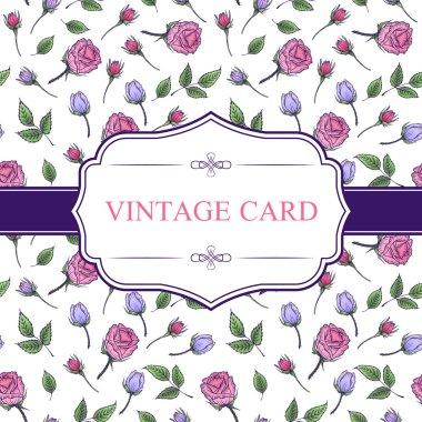 Vintage card on flower seamless pattern