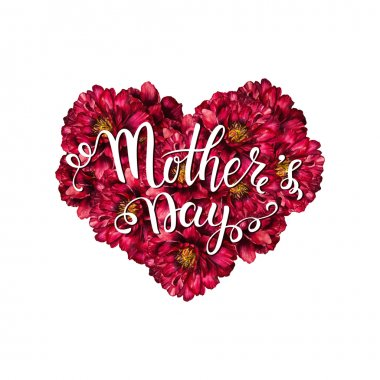 Mother's Day greeting card template. Happy Mothers day wording with watercolor hearts on background.