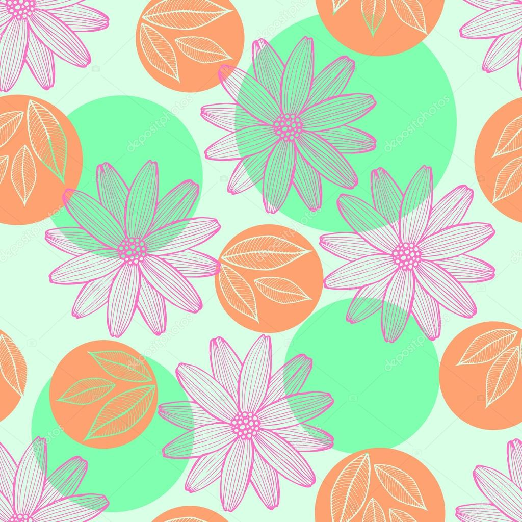 Seamless pattern of geometric shapes and flowers.