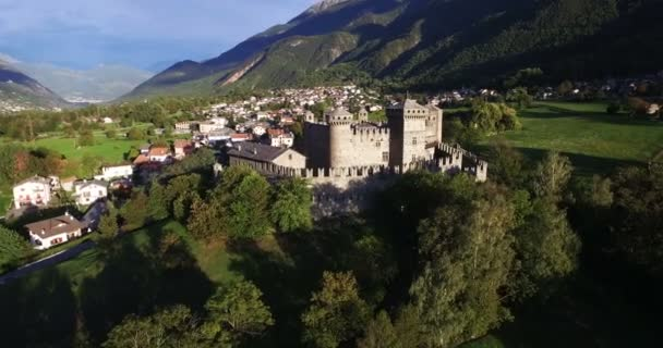 Aerial of Italian castle on a scenic mountains panorama in 4k (tower close up)