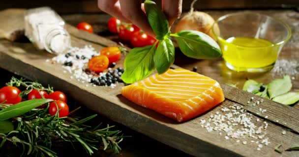 nice and colored italian food composition of salmon and genuine and fresh ingredients for diet and low calories in gym and fitness world