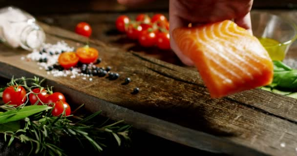 Nice And Colored Italian Food Composition Of Salmon And Genuine And