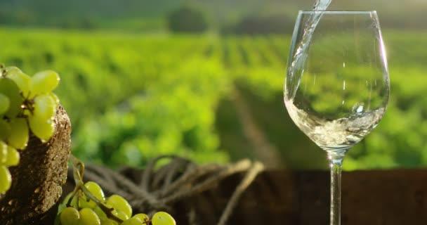 Sommelier nalil bílé víno ve skle