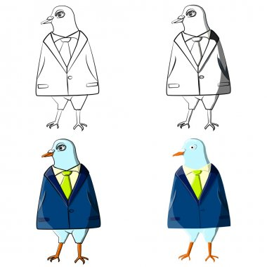Cartoon pigeon vector illustration. Office worker concept. Hand drawn bird in suit. White collar. Business area. T-Shirt Design.