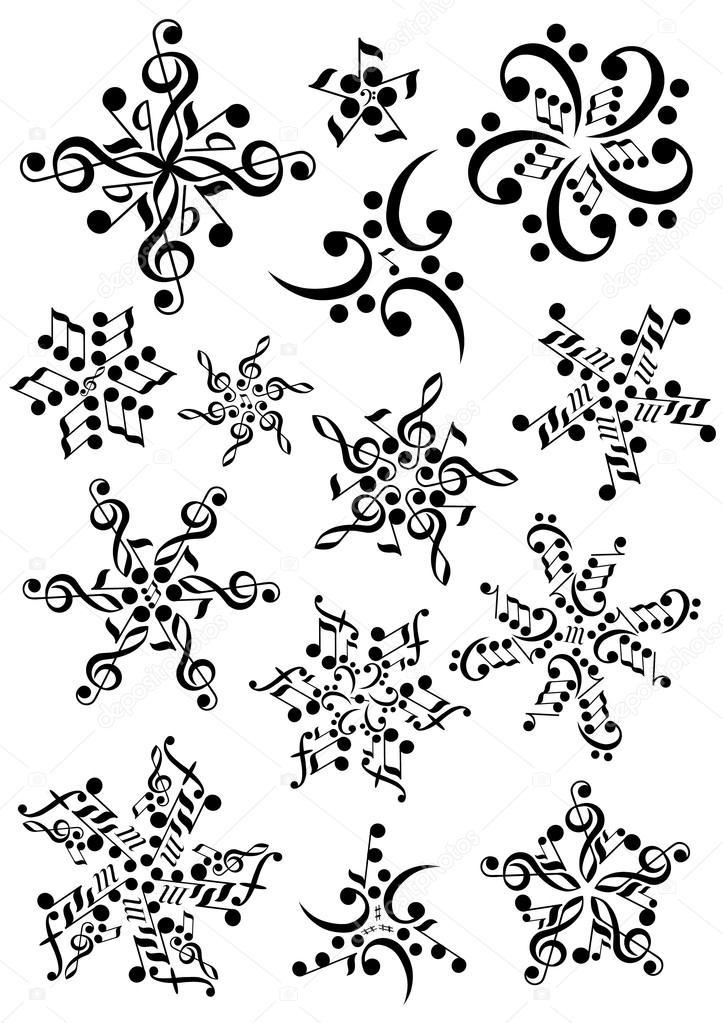 Notas De Copo De Nieve Aislado Sobre Fondo Blanco Canción Del Tema