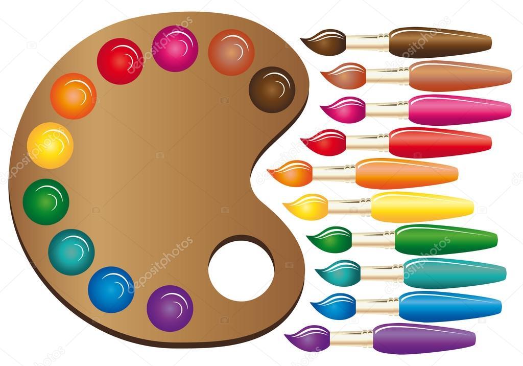 paleta de madera de arte con pinturas y pinceles s u00edmbolo de pincel de arte color archivo clipart of rainbow trout clipart of rainbow and tea cups
