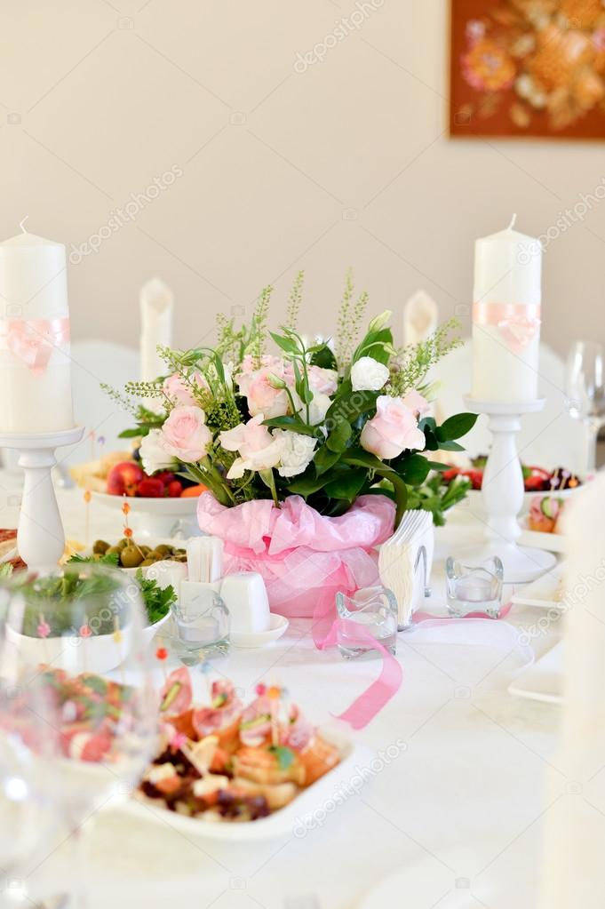 Wedding Table Setting Decoration, Candle Holder, White Candle, Flowers. U2014  Photo By Annikel