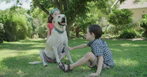 zwei Kinder streicheln und spielen mit einem großen weißen Hund
